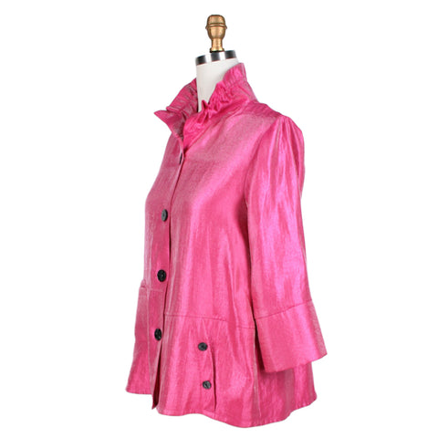 Damee NYC Button Front Double Pocket Jacket in Fuchsia - 4244-FUS