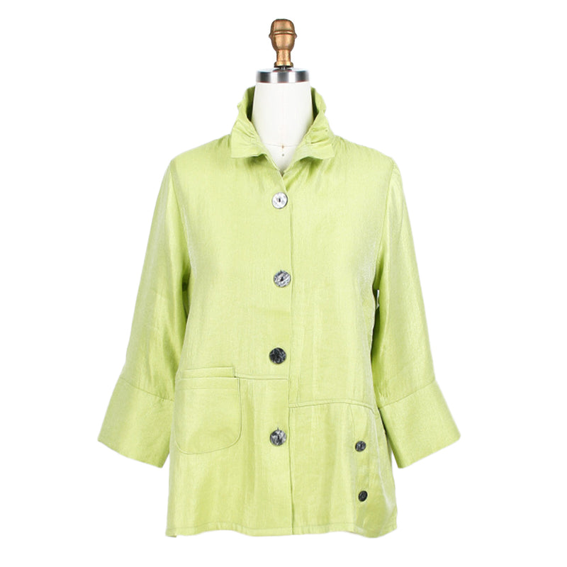 Damee Smooth Satin Button Front Jacket  in Lime - 4244-LIM