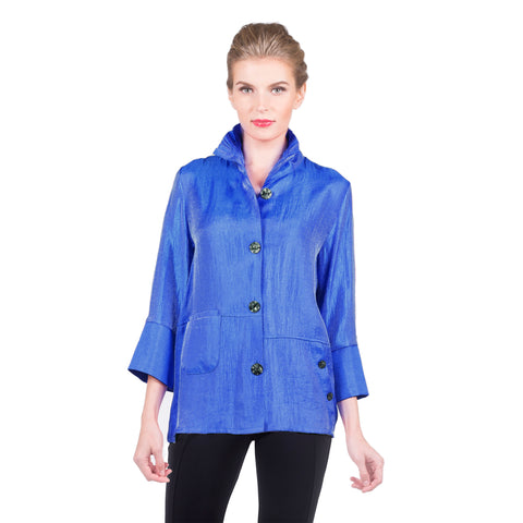 Damee NY Solid Shimmering Jacket in Royal - 4244-ROYL