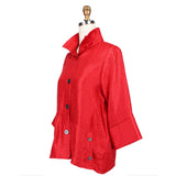 Damee Solid Button Front Jacket in Red - 4244-RED