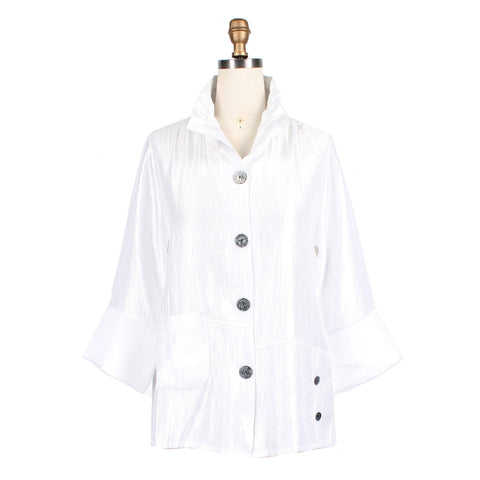 Damee NYC Solid Button Front Jacket in Snow White - 4244-WHT - Sizes S & L