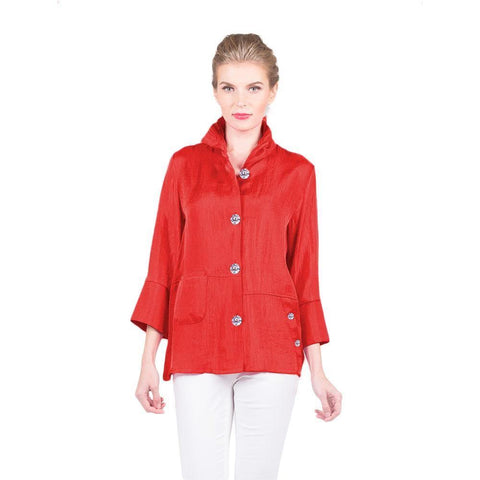 Damee Smooth Satin Button Front Jacket in Red - 4244-RED