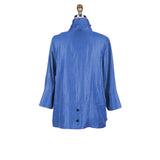 Damee Solid Button Front Jacket in Royal Blue - 4244-ROYL