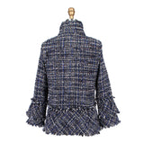 Damee Button Front Tweed Jacket w/Frayed Edges in Blue Multi - 4287-BLU - Size L Only!