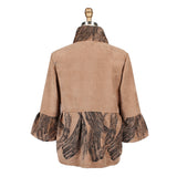 Damee Paint Stroke Corduroy Short Jacket in Tan/Black - 4290-TAN