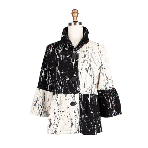 Damee Colorblock Bell Sleeve Short Jacket in Black/White - 4299-BLK