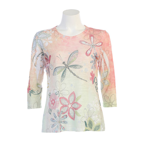 "J & J ""Good Times"" Burnout Dragonfly Print Top  - 44-1228"