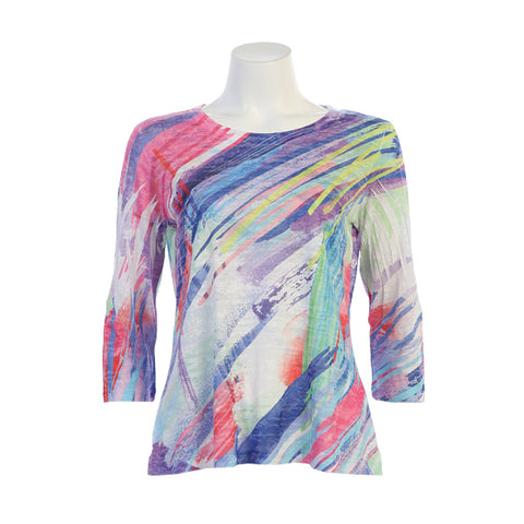 "Jess & Jane ""Frolic"" Multicolor Abstract Print Burnout Top - 44-1340"