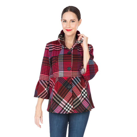 Damee NY Plaid Button Front Peplum Jacket - 4552-RED- Size M & L Only