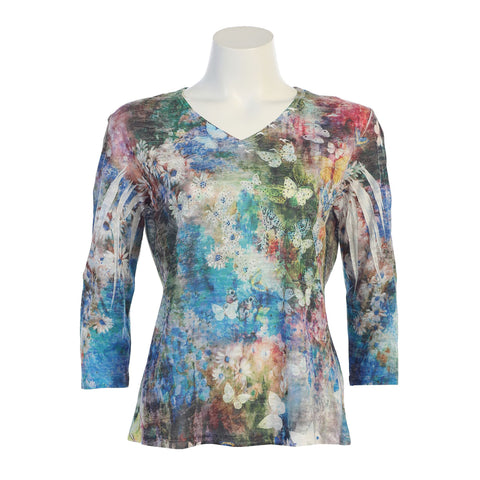 "Jess & Jane Burnout Sublimation Top ""Teeming""- 45-1044 - Sizes S, XL & 1X Only"
