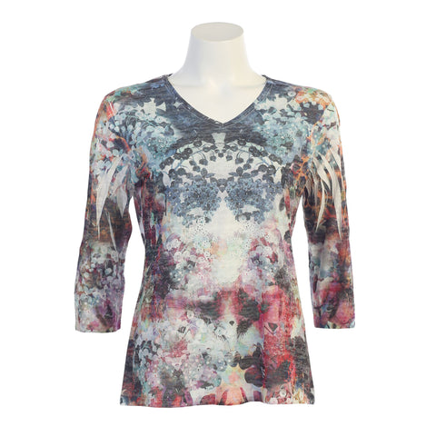 "Jess & Jane ""Florist"" Burnout Sublimation Top in Multi- 45-1075"