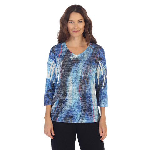"Jess & Jane ""Sea Wave"" V Neck Sublimation Burnout Top - 45-1140 - Sizes 1X - 3X Only"