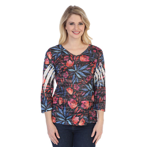 "Jess & Jane ""Europa"" Floral Print V Neck Burnout Top- 45-1214"