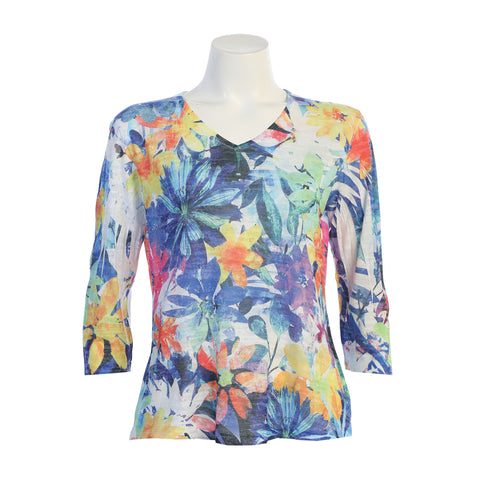 "Jess & Jane ""Florida"" V-Neck Burnout Floral Print Top - 45-1229"
