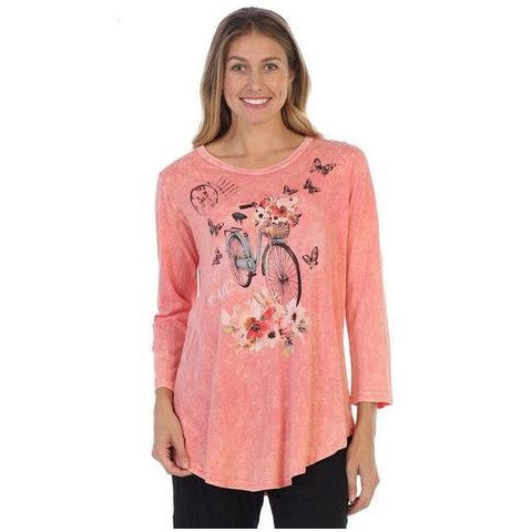 "Jess & Jane ""Maybe"" Mineral Washed Cotton Tunic Top in Coral - M28-1312"