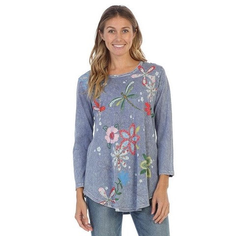 "Jess & Jane ""Good Times"" Floral Print Mineral Washed Cotton Tunic Top in Blue - M28-1228"