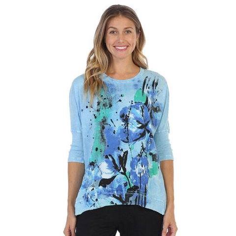 "Jess & Jane ""Morning Glory"" Mineral Washed Rib Sleeve Top in Sky Blue/Multi - M15-1323"