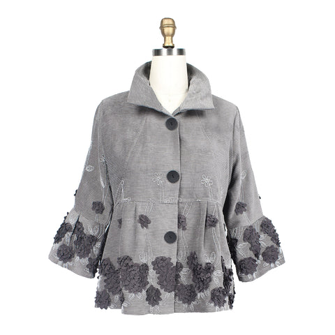 Damee 3D Floral Embroidered Corduroy Jacket in Gray - 4508-GRY