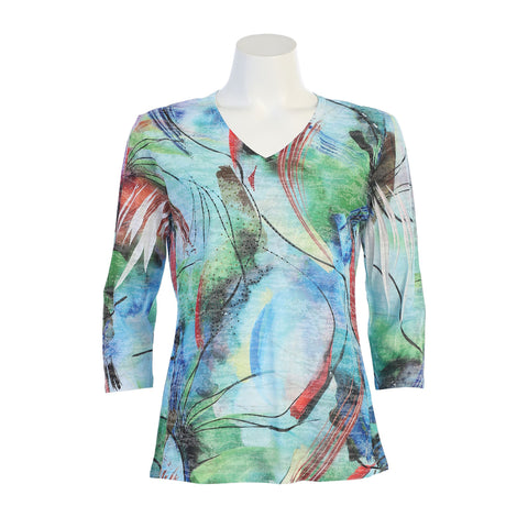 "Jess & Jane Sublimation Burnout Top ""Tropic Rain""- 45-1178"