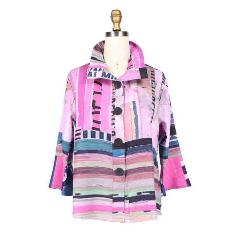 Damee NYC Abstract Stripe Print Jacket in Pink/Multi - 4514-PNK - Sizes S & M Only
