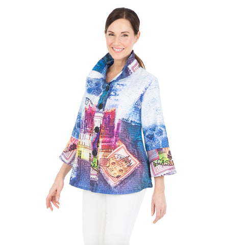 Damee Button Front Print Jacket in Blue/Multi - 4519-BLU