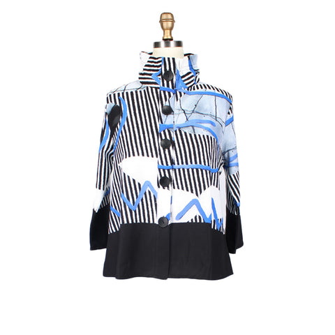 Damee NYC Cruise Wear Abstract Stripe Print Jacket in Blue/Black/White - 4520-BLU