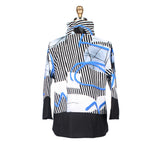 Damee Cruise Wear Abstract Stripe Print Jacket in Blue/Black/White - 4520-BLU - Size S & XL Only