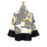 Damee NYC Cruise Wear Stripe Print Jacket in Yellow/Black/White - 4520-YLW
