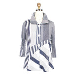 Damee Mixed Stripe Shirt/Jacket in Blue/White - 4527-BLU - Sizes S & M Only