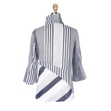 Damee Mixed Stripe Lightweight Shirt/Jacket in Blue/White - 4527-BLU