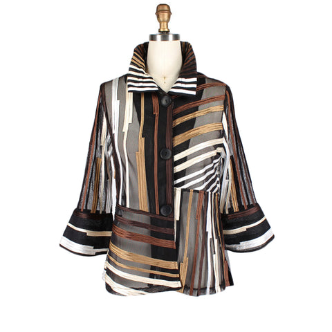 Damee Mixed Stripe Soutache Jacket in Gold/Multi  - 2328-GLD