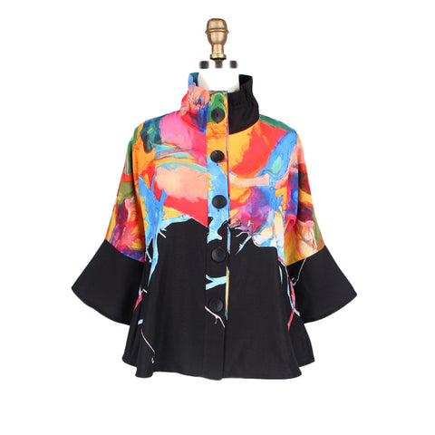 Damee NYC Watercolor Print Jacket in Black/Multi - 4531-BLK