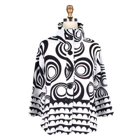Damee NYC Soft Knit Concentric Circle Jacket in Black/White - 4535-BLK - Size XL Only