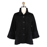 Damee Basketweave Trim Bell Sleeve Faux Suede Jacket in Black - 4556-BLK