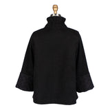 Damee  Faux-Suede Jacket with Cross-Cross Trim in Black - 4556-BLK - Size S Only