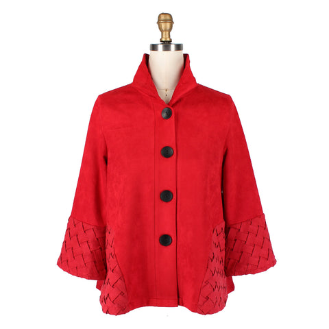 Just In! Damee NY Basketweave Trim Faux Suede Jacket in Red - 4556-RED