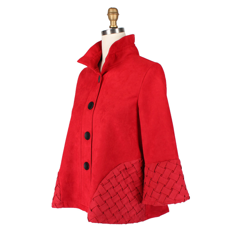 Damee Faux-Suede Jacket with Cross-Cross Trim in True Red - 4556-RED - Sizes S & M Only