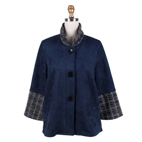 Damee Faux-Suede & Tweed Jacket in Navy/Multi - 4558-NVY - Sizes M & L Only