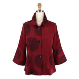 Damee Polka Dot Button Front Jacket in Burgundy - 4559-BGD - Size L Only