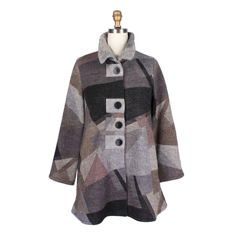 Damee Colorblock Sweater Knit Jacket in Grey/Multi - 4572-GRY - Size M Only