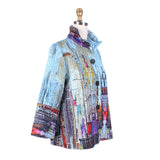 Damee NY Button Front Printed Quilt Jacket in Sky/Multi -  4585-SKY