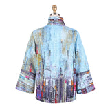Damee NY Button Front Printed Quilt Jacket in Sky/Multi -  4585-SKY - Sizes S & M Only