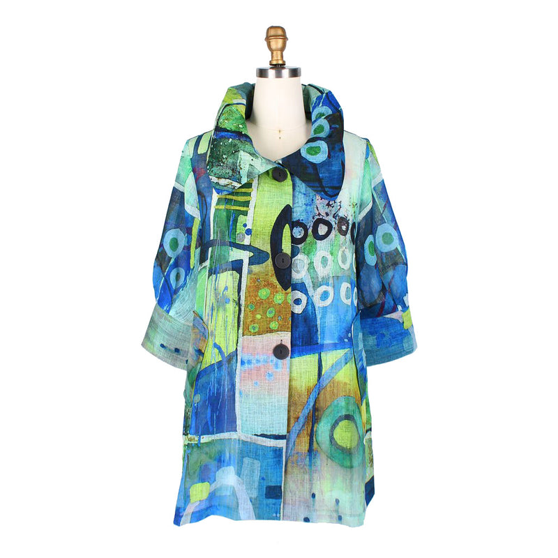 Damee NY Abstract Print Swing Jacket in Green/Multi - 4595-GRN