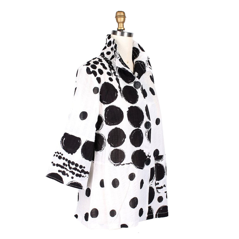Damee Polka Dot Jacket in Black & White - 4603-BLK - Size L Only