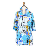 Damee NY Abstract Print Swing Jacket in Blue/Multi - 4604-BLU