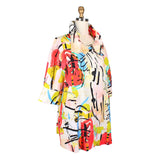 Damee NY Abstract Print Swing Jacket in Coral/Multi - 4604-CRL