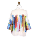 Damee Multicolor Brushstroke Button Front Jacket  - 4606-WHT