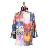 Damee Watercolor Abstract Button Front Jacket in Multi - 4607-MLT