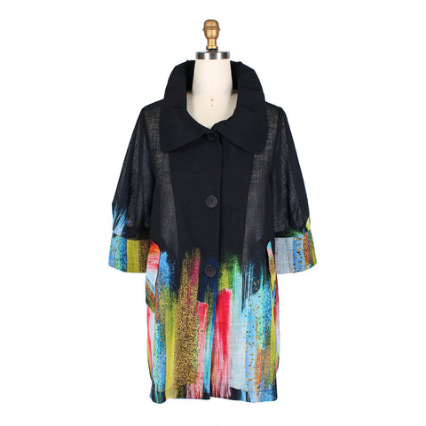 Damee Brushstroke Swing Jacket in Multi - 4609-BLK