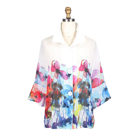 Damee Watercolor-Floral-Print Button Front Jacket in Multi on White - 4614-WHT